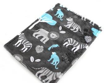 SALE Blue Zoo Blanket / Personalized Baby Mini Blanket Lovie Boy - Blue Gray Zoo Animal Minky Blanket // Name Baby Blanket / Baby Shower Gif