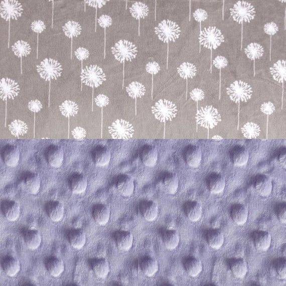 Gray Purple Flowers /Toddler Blanket // 48 x 60 Minky Blanket Girl, Personalized Baby Blanket - Toddler Lap Size // Dandelion Blanket