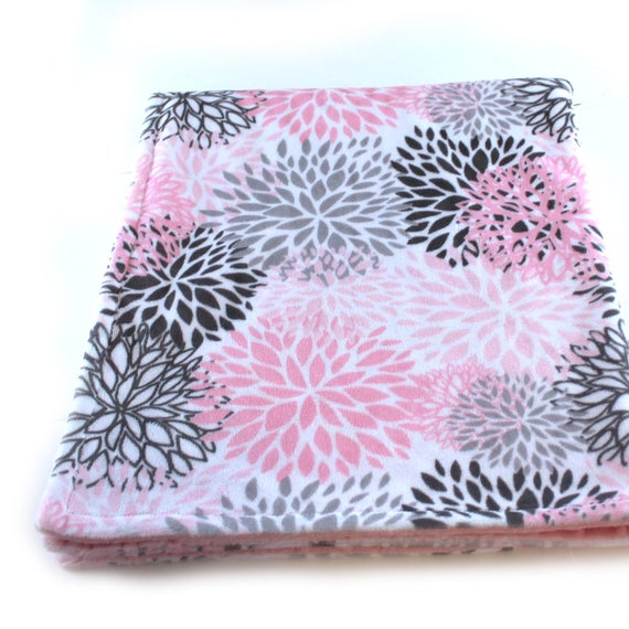 Gift For Women, Floral Minky Blanket Adult Minky Blanket Personalized Blanket Pink Flower Blanket Gray Pink Minky Throw Blanket Gift For Her