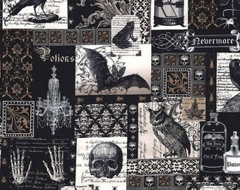 """Nevermore Collage- Edgar Allen Poe-like Fabric by  Michael Miller- Cotton 33 X44"""" Remnant"""
