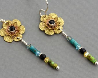 Black onyx earrings brass gold flower dangle earrings semiprecious stones gemstone earrings mixed metal bohemian colorful jewelry gift