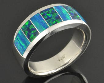 Men's Lab Created Opal Ring in Sterling Silver