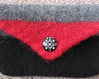 Coin Purse Black Gray Red Wool Hand Knitted Felted
