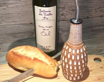 Ceramic Olive Oil bottle-  Carved bottle with a toasted cream glaze with food grade spout  -  Ready to Ship