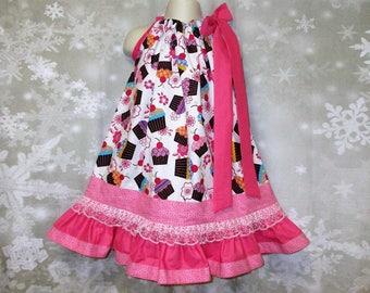 Girls 3T/4T Happy Birthday Dress Pink White Cupcakes Pillowcase Dress, Pillow Case Dress, Sundress, Boutique Dress