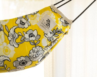 Premium Pack Baby Hammock Swing & Accessory Set -  Zaza Nature - Designer Limited Editon . Yellow Flowers + Zaza Bounce Kit + Extra Rope Set