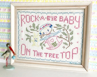 Vintage Sampler Nursery Rhyme Rock a Bye Baby Cross Stitch Embroidery Wall Hanging Decor Baby Shower Gift
