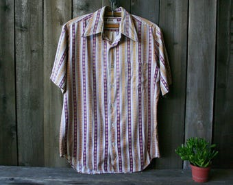 Vintage Short Sleeve Shirt Mens Oxford Shirt Montomery Ward 1960s Size Medium Vintage From Nowvintage on Etsy