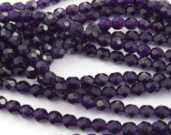 Purple Tanzanite Fire Polish Czech Glass Beads 6mm - 25