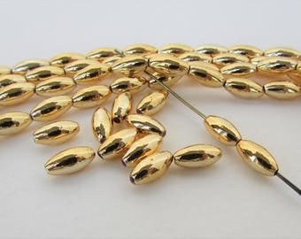 Vintage Plastic Beads Gold Oval Rice Oat Acrylic Japan 8mm vpb0198 (50)
