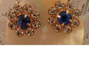 Vintage Rhinestone Blue and Clear Screw Back Earrings, Snowflake Rhinestone Earrings