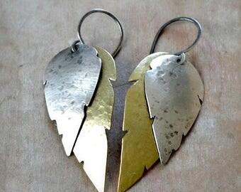 ON SALE Sterling silver and brass feather earrings, rustic earrings, bohemian earrings - Tempestual