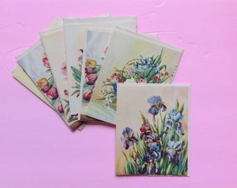 Pretty 1940's Vintage Note Cards Lillian Grow Artist Various Florals Scalloped Edges