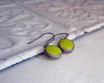 Yellow Faceted Glass Earrings Stained Glass Jewelry