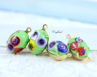 Green Oval Glass Millefiori Vintage Set Stones Spain 14x10mm Charms Drops Connectors Brass Settings - 2