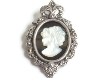 MOP Cameo Marcasite Sterling Pin or Pendant Vintage