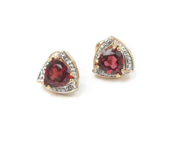 Garnet Stud Earrings Trillion Cut Diamond Accent Vintage