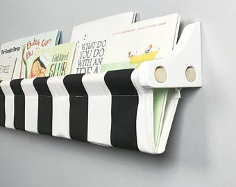 Book Sling and Wooden Brackets- Black and White Striped Wall Organizer - Choose your size