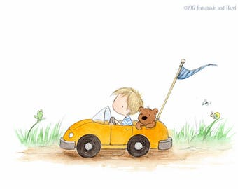 Blond Boy in Race Car with Teddy Bear  - Art Print - Nursery