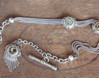 Antique French Silver and Marbled Glass Slider Watch Chatelaine Chain with Original Tassel and Watch Key