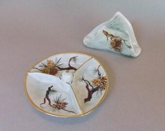 Hand Painted Pinecone Tidbit Dish and Napkin Holder