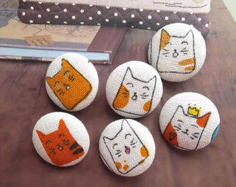 Japanese Traditional Zen Orange Kawaii Geometry Crown Kimono Kitty Cats-Handmade Fabric Covered Buttons(0.87 Inches, 6PCS)