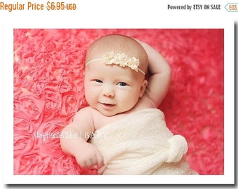 SUMMER SALE Baby Headband - Newborn Headband - Infant Headband - Toddler Headband - Triple Ivory Flower on Thin Stretch Headband - Photograp
