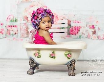 sitter bonnet, baby floral bonnet, flower bonnet, photography prop