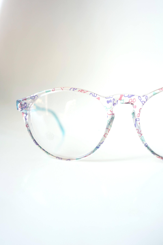 6d81fb30a3d Vintage 1980s Round Green Glasses Womens Eyeglasses Keyhole Bridge Colorful  Bright Retro 80s Eighties Indie Cyan