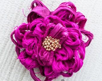 Bright Fuchsia Fabric Flower Pin, Fuchsia Flower Brooch, Magenta Beaded Flower Brooch
