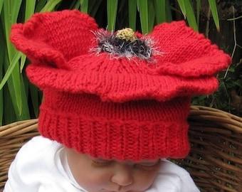 40% OFF SALE Baby Poppy Beanie Hat pdf knitting pattern - madmonkeyknits
