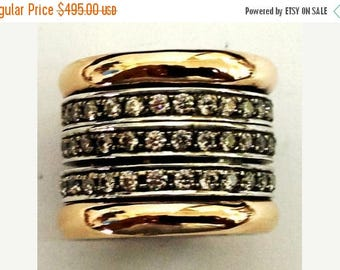 ON SALE Spinner ring silver gold cz zircons