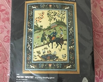 Christmas Sale Vintage 1970s Needlepoint Kit PERSIAN TAPESTRY Embroidery Needlework WOOL