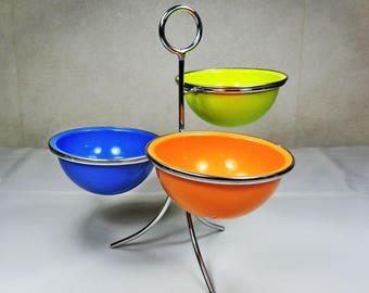 Mid Century Snack or Dip Dishes- Orange, Green and Blue
