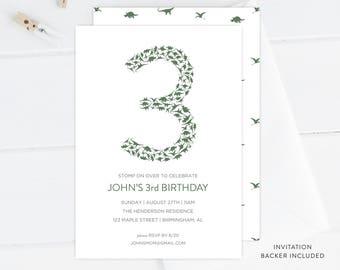 Modern Dinosaur Birthday Invitation   Dinosaur Printable, Digital Download, Dinosaur Invitation Template, Boy Birthday, Third Birthday