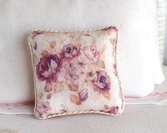 1:12 Pillow - Floral in Wine - Handmade Dollhouse Scale Miniature - Shabby Cottage Chic *Free Shipping*