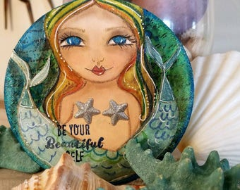 Two tailed MERMAID. Be your BEAUTIFUL self. Original art by Tiffanie Seiler