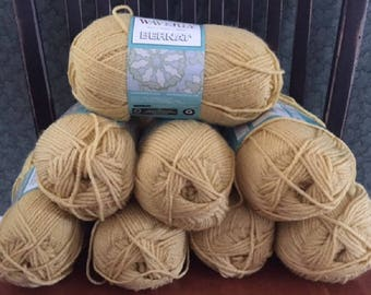 lot of 8 Bernat Waverly soft worsted category 4 yarn BUTTER light gold 3.5 ounces 197 yards acrylic skein knitting crochet discontinued new