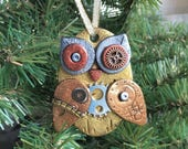Steampunk Owl Holiday Ornament - Industrial Style Bird Animal Mixed Media Decor style 13