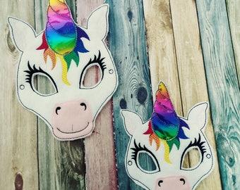 Felt Unicorn Mask - Rainbow Unicorn- magical - party favor - non food treat - Fantasy - Halloween - dress up - pretend play - birthday