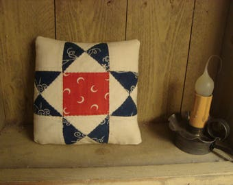 Antique 1920s Eight Point Star Quilt Mini Pillow - Americana