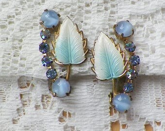 Vintage White Turquoise Painted Leaf Clip On Earrings with Blue Glass, Light Blue / Aurora Borealis Rhinestone Accents, AB Rhinestones