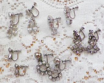 Destash Lot Five Pairs Silver Tone Clear Rhinestone Screw Back Earrings, Dangling, Rhinestones, Silver Tone Metal, Vintage Wedding, Bridal