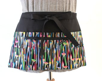 teacher apron with pockets - half apron with zipper pocket - vendor apron - waist apron - craft apron - 6 pocket apron - utility apron