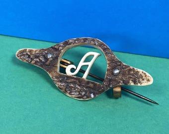 Vintage Initial Brooch - Vintage Letter A Brooch - Carved Wood Effect - Vintage Brooch - 1930s