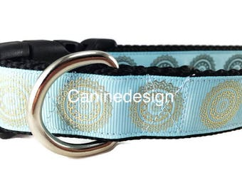 Dog Collar, Mehndi,  adjustable, 1 inch, medium, 15-22 inches, heavy nylon, quick release buckle