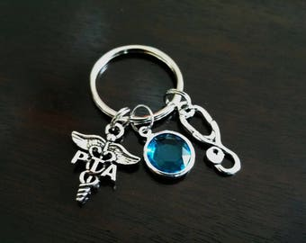 PTA Physical Therapy Assistant Graduation Gift Personalized Crystal Birthstone Key Chain Key Ring