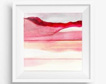 Digital Print, Abstract Printable Art, Abstract Art Print, Square Abstract Print, Pink Red White Abstract Landscape - Meditation on Love 3
