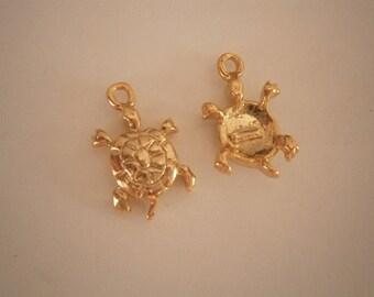 Sea Turtle Charm, Gold Charm, Gold Turtle Charm