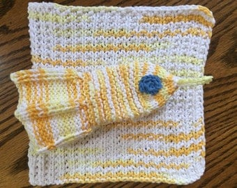 Washcloth Set for Baby or Toddler Square and Fish Shape Hand Knit Cotton Free US Shipping